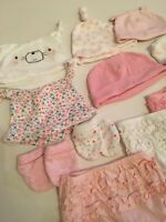 Newborn 0-3 Hat Mittens Bloomers Bundle Girls