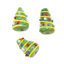 24 Cone shaped Christmas Tree Lampwork Glass Beads