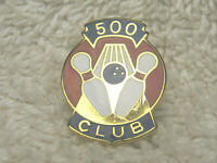"VINTAGE 500 CLUB BOWLING METAL & ENAMEL 7/8"" LAPEL TIE HAT PIN GOLD BLUE RED"