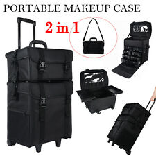 2 in 1 Makeup Case Train Box Cosmetic Organizer Rolling Luggage Trolley Ba