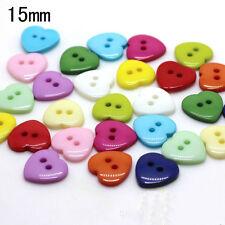 100 Stück Mehrfarbig Herzförmige Knöpfe aus Harz Nähen Zubehör 15mm 2-Loch-Knopf