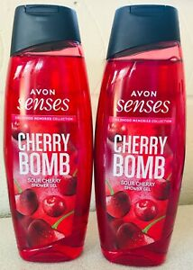 AVON 2 x 500ml Senses Cherry Shower Gel NEW Sour Cherry