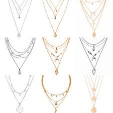 HOT Women Multi-layer Long Chain Pendant Crystal Choker Necklace Jewelry Gift