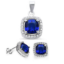 Blue Sapphire & CZ Halo Style .925 Sterling Silver Earring & Pendant Jewelry set
