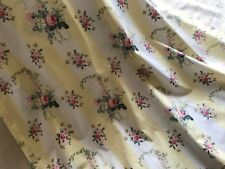 VINTAGE FRENCH COTTON CURTAIN - PALE YELLOW STRIPES & ROSES