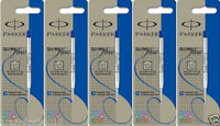 5 x Parker Quink Ball Point Pen Refills, Blue Ink, Medium Tip 1mm, Jotter Vector