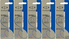 5 x Parker Quink Ball Point Pen Refills, Blue Ink, Medium Tip 1mm, Jotter Vector