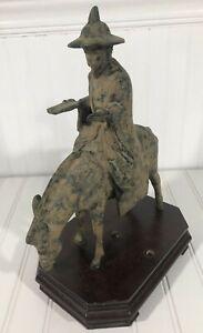 Antique Japanese Iron Wise Man On a Donkey Wise Man Riding Donkey Statue w/ Base