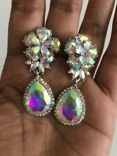 """2"""" Long Crystal Silver AB Clear Rhinestone Earrings Dangle Pageant CLIP ON"""