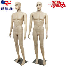 Full Body Male Mannequin Pe Realistic Shop Display Head Turns Dress Form w/ Base