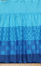 Pre-Smocked Shirred Sundress Fabric - Blue Ombre Stripes Diamond Dots A415.06