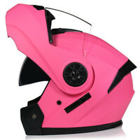 DOT Modular Helmet Flip Up Motorcycle Helmet Full Face Dual Visor Motocross Pink