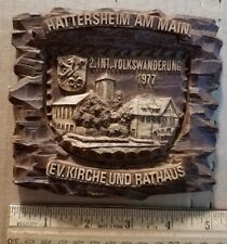 Vintage German 3-D Hand-Crafted Wood Hanging Wall Plaque - Train Station #4