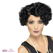 Black 1920s Flapper Wig - Curly Ww2 Gatsby 20s Fancy Dress Hair Smiffys 42465