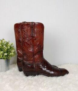 Lucchese San Antonio Classic Alligator Belly Tinga Cut Cowboy Western Boots 9.5B