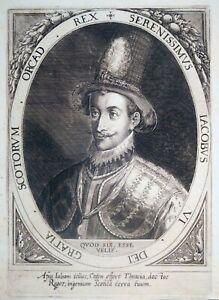 Kupferstich, König James VI. von Schottland, D. Custos, 1602, H 58, James I.