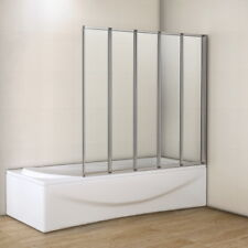 Aica 1200 Square 5 Fold Folding Bath Shower Screen Reversible Glass