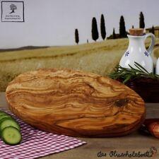 1x madera de olivo Tabla cortar hierbas, desayuno ovalado, hecho a mano 30cm