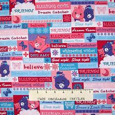 Care Bear Fabric - Word & Bear Patch Pink Blue - VIP by Cranston 29""