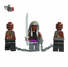 The Walking Dead Michonne & Walkers Minifigures. Made using LEGO parts.
