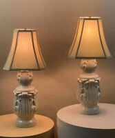 Pair Vintage Retro Mid Century Brutalist Danish Modern Circa 1960s Lamps