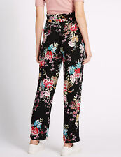 Gorgeous M&S Limited Edition~Size 8~ High Rise Tapered Black Floral Trousers NEW