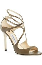 New sz 6.5 / 36.5 Jimmy Choo Lang Moss Olive Gren Leather Sttrapy Sandal Shoes
