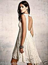 NEW Free People Special Edition ivory Lace Babydoll Swing Dress Open Back 10