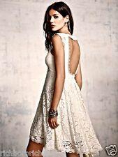 NEW Free People ivory Lace Babydoll Swing Dress open back hi lo hem 10