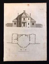 Antigüedad 1800 impresión arquitectónico constructores revista Cottage o casa pública XXVII