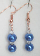 Two deep blue 8mm glass pearl and clear bead gold plated 5cm drop earrings