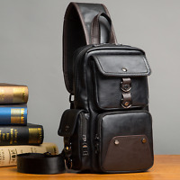Fashion Mens Leather Shoulder Chest Bag Waist Messenger Sling Crossbody Bags