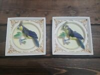 Vintage Olimco Wall Plaques 3D Asian Art Birds Real Feathers Plaster Set Unique