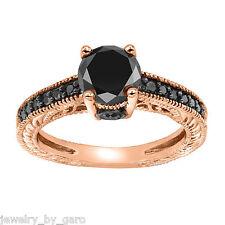 1.35 CARAT ENHANCED BLACK DIAMOND ENGAGEMENT RING 14K ROSE GOLD VINTAGE STYLE