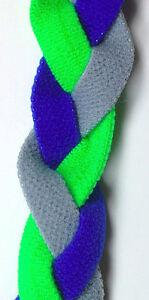 NEW Blue Gray Neon Green Grippy Band Headband Hair Sport Soccer Softball Stretch