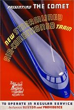 1930s The Comet Boston Providence Vintage Railroad Travel Advertisement Poster