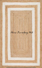 Indian Natural Jute Braided Weave Carpet Home Decorative Handmade Rug Cotton Mat