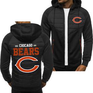 Chicago Bears Fans Hoodie Sporty Jacket Zip up Coat Autumn Sweater Tops