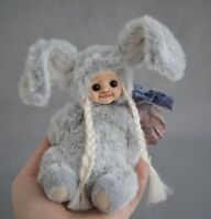 "Marta.artsToy New 7"" OOAK Teddy Bunny Doll Collectible Toy Handmade Artist"
