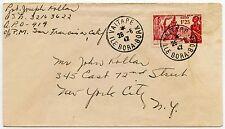 FRENCH POLYNESIA WW2 BORA BORA to NEW YORK 1942 SINGLE FRANKING EXHIBITION 1F25