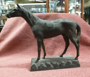 ANTIQUE SPELTER RACE HORSE STATUE FIGURINE