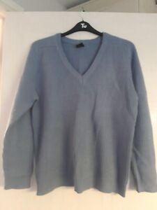 Vintage - Bhs Blue Ribbed V-Neck Jumper M/L