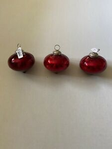 Set of 3 Pottery Barn Ornaments Glass 3 inch RED