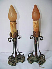 ANTIQUE PR.1920's ARTS & CRAFTS DECO METAL CANDLE STICK TABLE LAMPS IN OLD PAINT