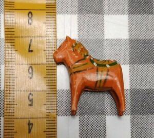 Tiny vintage 3cm Akta Dalahemslojd Swedish Dala Horse orange