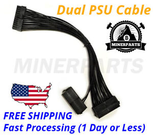 24PIN 20+4 DUAL PSU Multiple Power Supply Splitter Adapter 33cm Cable - 2 PSU