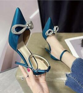 Women Elegant Rhinestone High Heels Women Silk Pumps Pointed Toe Buckle Sandals