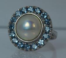 Impressive Mabe Pearl & Aquamarine Platinum Cluster Cocktail Ring