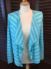 Tommy Bahama Doheny Stripe Cascade Cardigan Blue & White Open Front Size XS