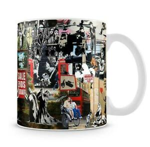 Retro Banksy montage Collage Graffiti Mug Tea Coffee Mug